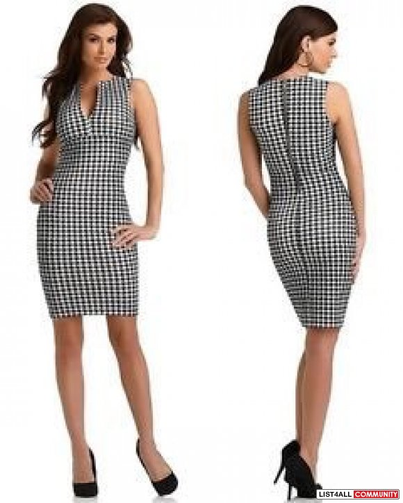 Kardashian Kollection Women's Sheath Dress - Houndstooth Check