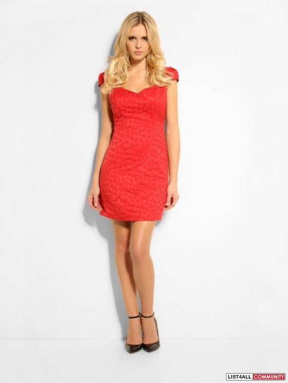 Guess  Red Sweetheart Jacquard Dress