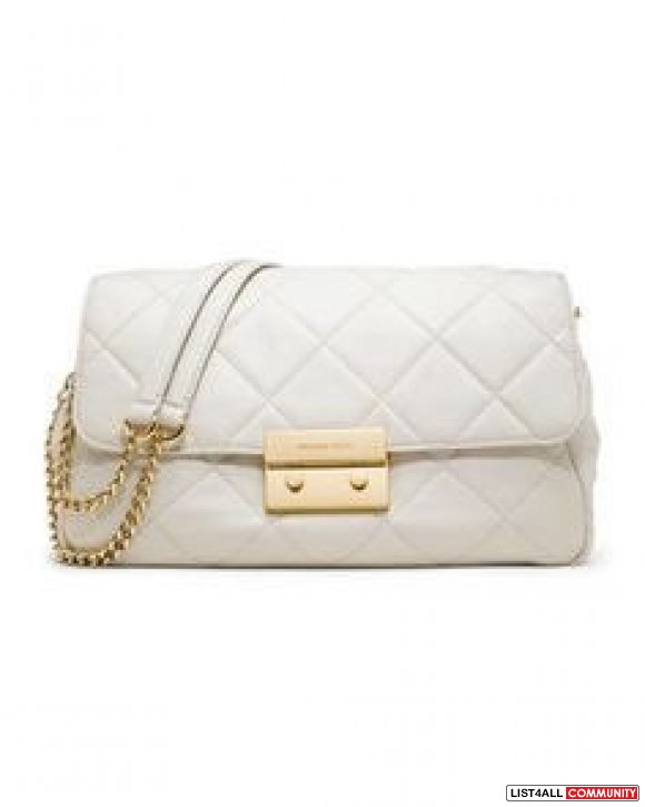 Michael Kors White Sloan Large Quilted Leather Shoulder Bag