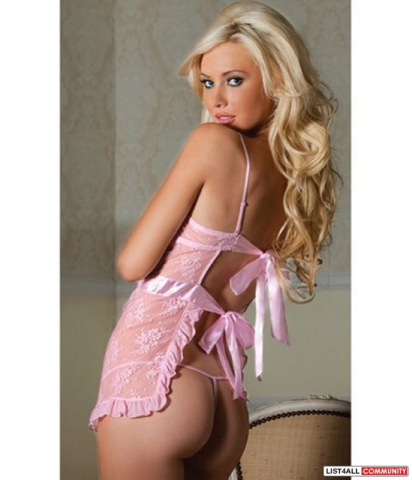 Seven Till Midnight Lace Pink 2 Piece Apron & Thong