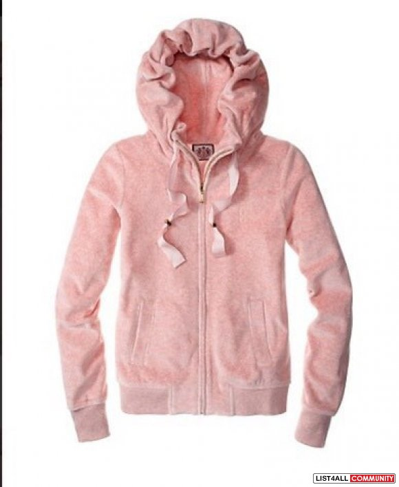 Juicy Couture Ruffle Velour Hoodie with Grosgrain Ribbon Gilded Rose