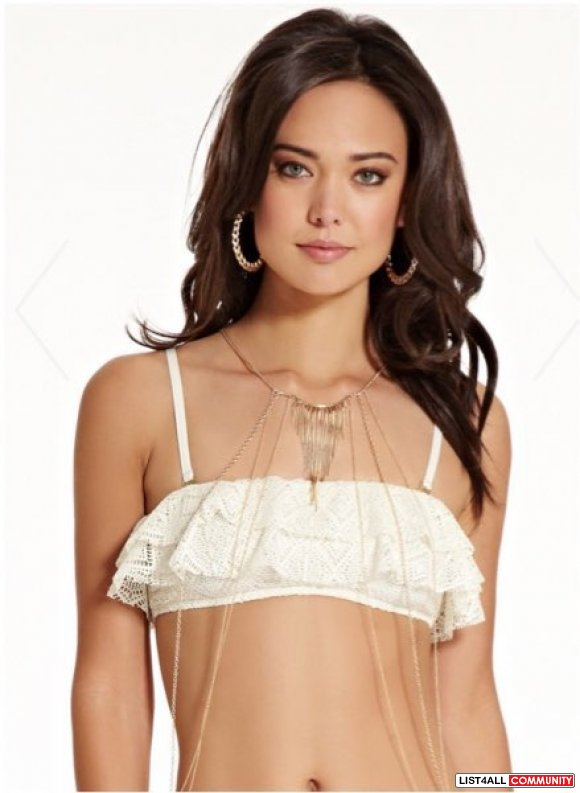 Guess FLIRTY LITTLE SECRET RUFFLE BANDEAU TOP