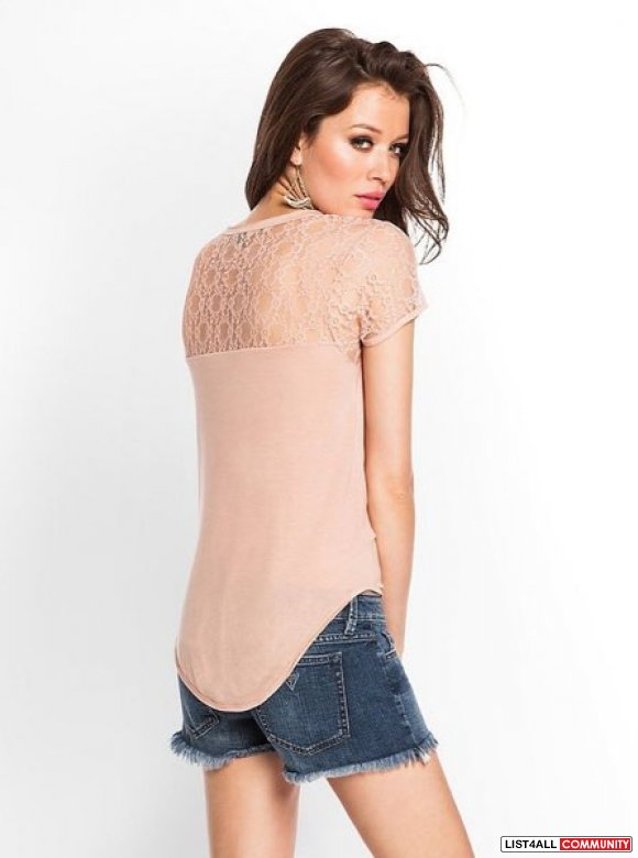 Guess LACE-BACK BOYFRIEND TEE