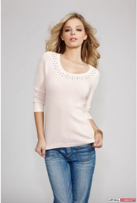 GUESS Divine Three-Quarter Sleeve Embellished Top