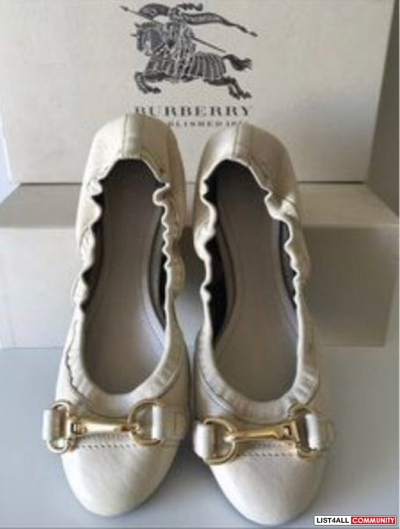 Burberry Heritage Leather Shipley Ballerina Flats Shoes