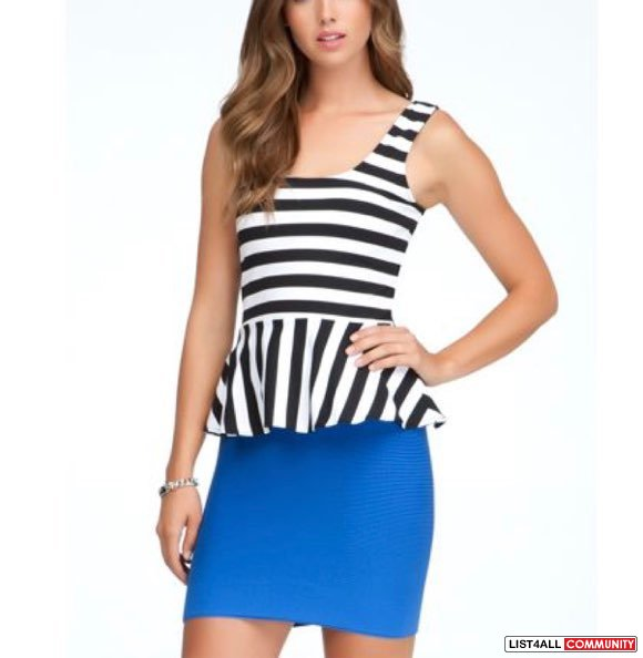 Bebe Striped Peplum Top