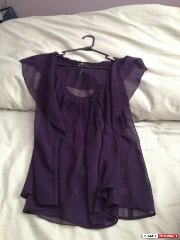XXI Purple Chiffon Cap Sleeve Top