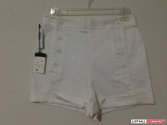 Starboard High Waisted Shorts - White Satin