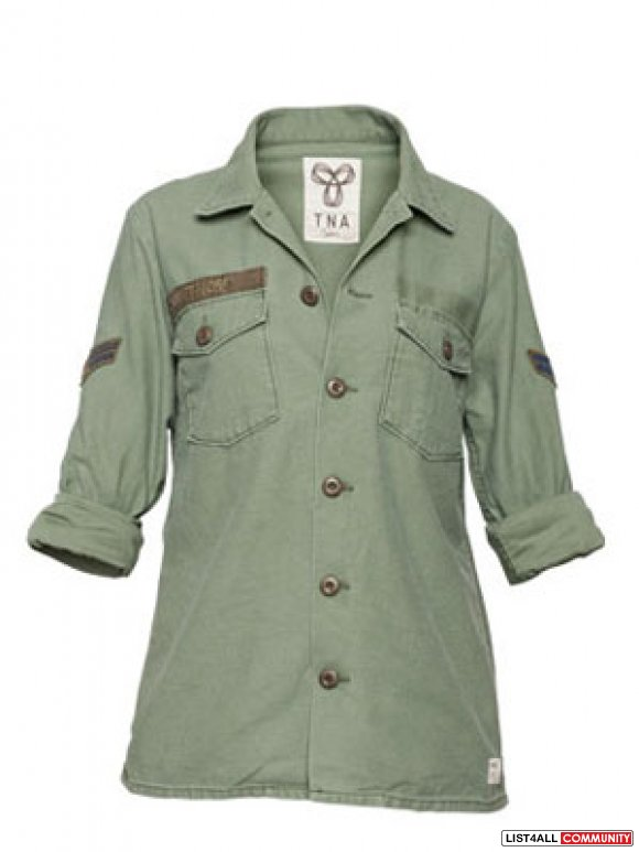 ARITZIA TNA MILITARY Inspired Button Up Shirt Jacket
