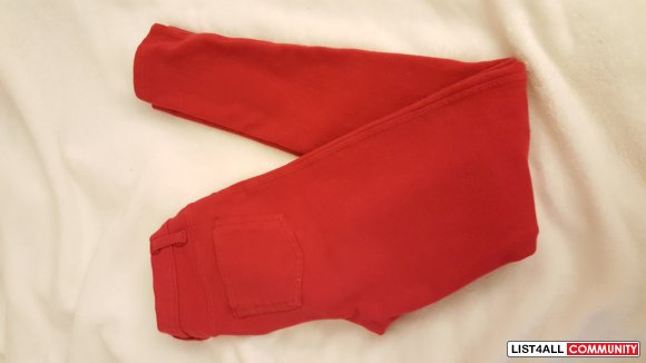 Red soft jeggings/jeans size small (NEW)