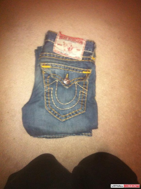 True Religion Orange/Yellow Stitch Size 28/29