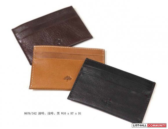 Mulberry ostrich leather card purse