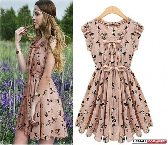 Deer print cultivated dress