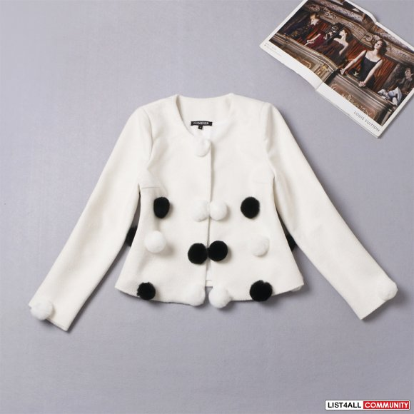 White blazer with rabbit fur furry