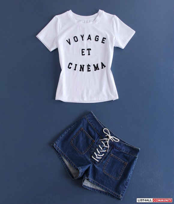 t-shirt with denim shorts S M L $52