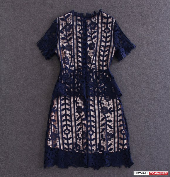 Lace hollowout one-piece dress
