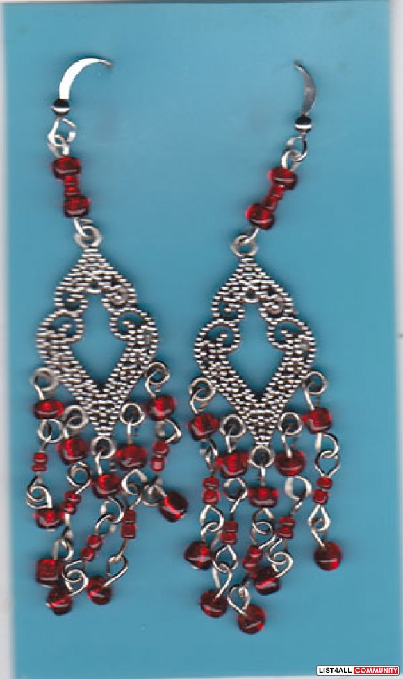 Earrings - Handmade, Tibet Silver, Red Glass Beads, NWT