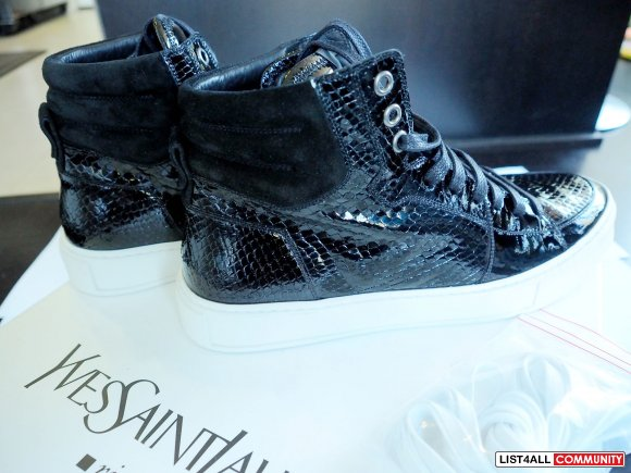 YSL Malibu High Top Leather Sneaker - Snake Black - Size 40