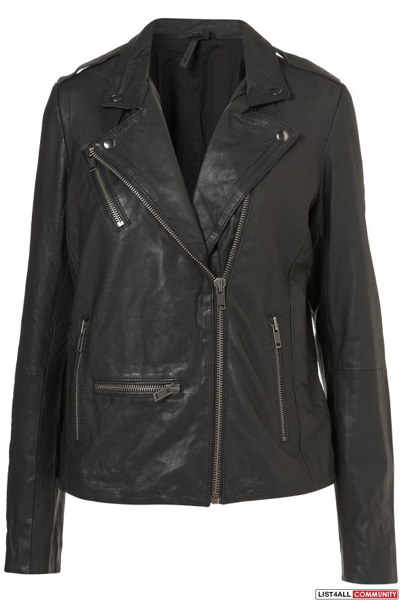 topshop boutique longline leather biker jacket $200 OBO