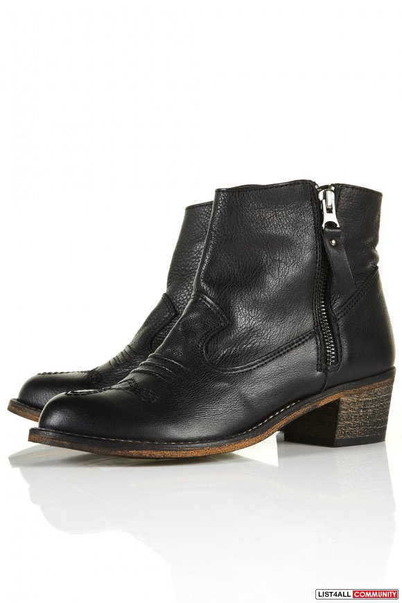 "topshop ""artreu"" western ankle boots"