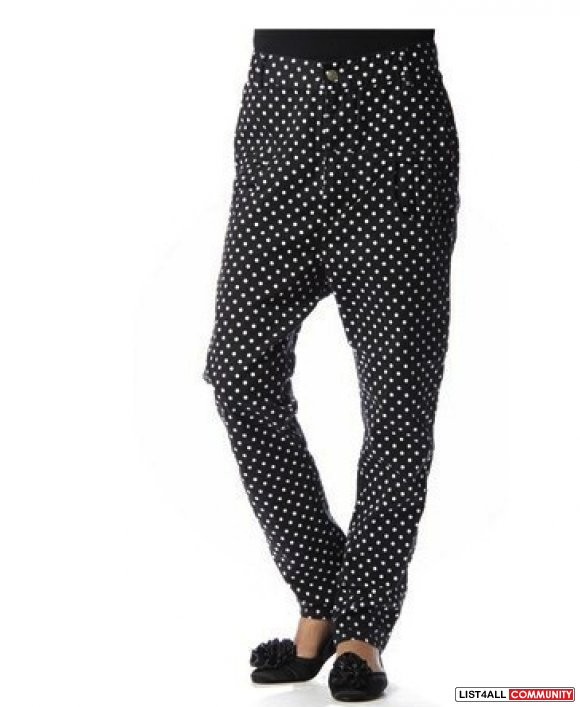 Black pants with white dots