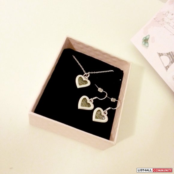 Matching Heart Necklace + Earrings