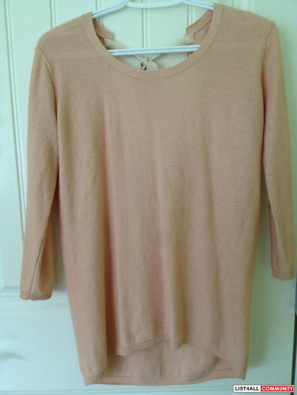 ARITZIA Peach sweater with ribbon XS