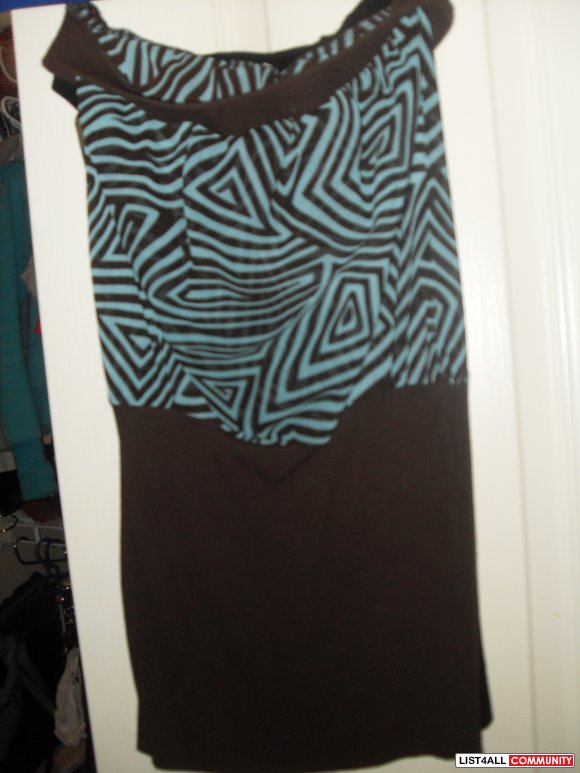 brown and teal tube top - sheer on the top and ribbed on the bottom