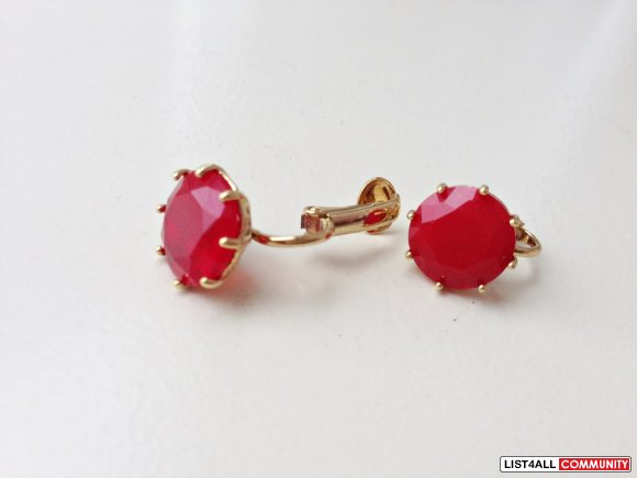 [SOLD] Les Nereides Ruby red clip earrings