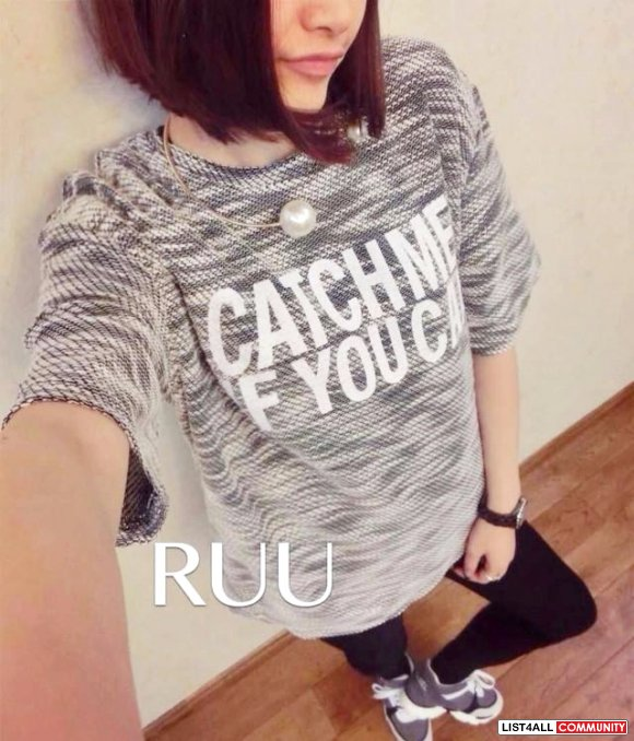 NEW Korean knit light gray top tee short Free size from Gmarket