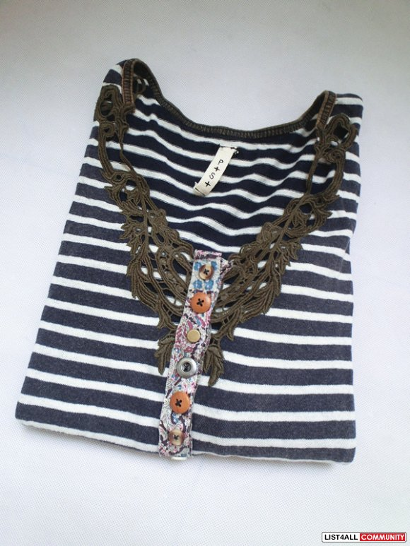Free people lace Navy white striped tee Size S long sleeves