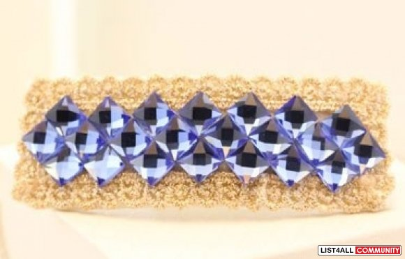 Pretty Hair accessory Clips purple crystal lace