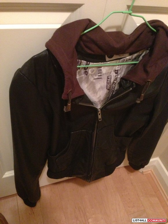 Leather jacket with hood loose fit Size M