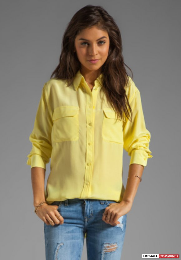 NEW Equipment Signature Blouse Size M Yellow BF fit silk