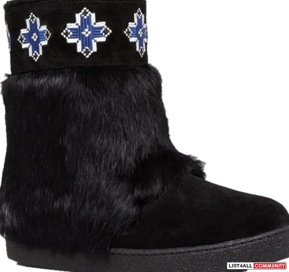 Tory Burch Lafayette Blue Embroidered Suede Fur Snow Black Boots