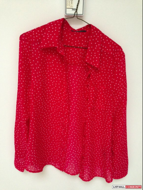 SUZY SHIER silk pink dots blouse