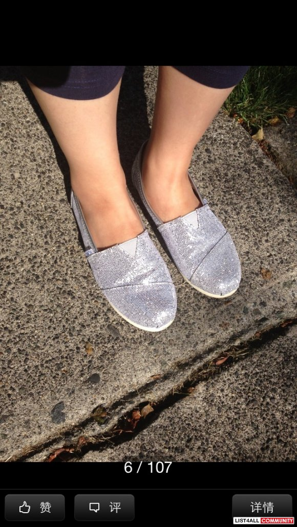 Authentic Tom's spark silvery shoes