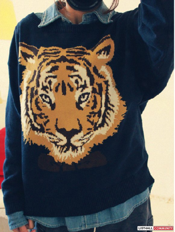 Navy sweater with tiger pattern
