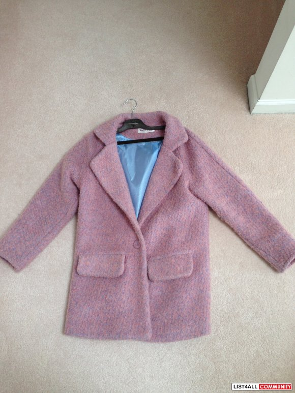 Korean coat with mixed baby pink and blue linear lint