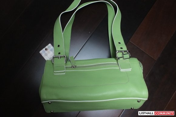 Fossil 100% leather green handbag