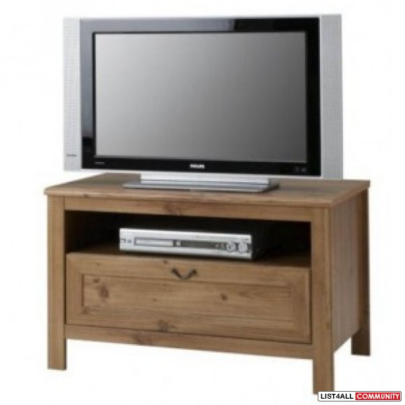 ikea grevback solid wood tv stand with drawer. Black Bedroom Furniture Sets. Home Design Ideas