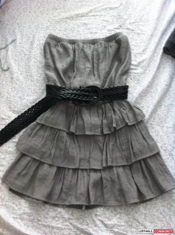 Strapless Grey Ruffle Dress with Belt - S