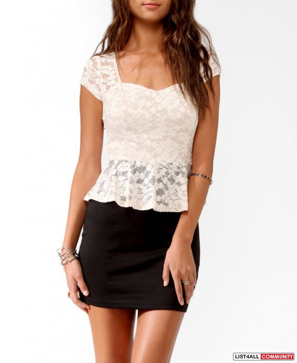 Lace peplum dress forever 21