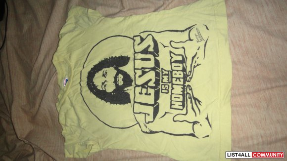 """jesus is my homeboy"" size small yellow"