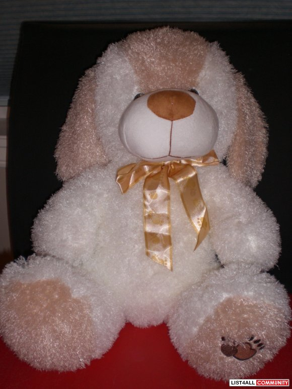 Cute white fluffy puppy/dog plush
