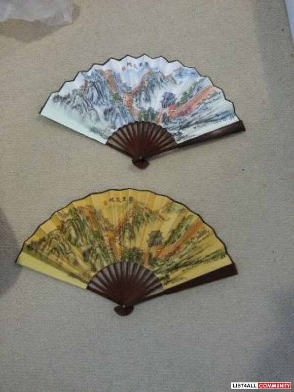 hand painted silk handheld folded fans - $15