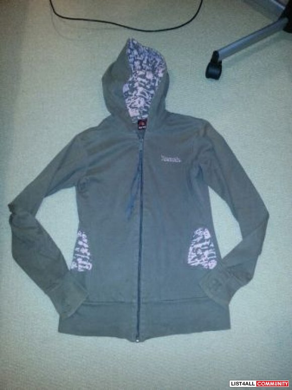 ladies bench jacket (brown/pink)with leopard hood - size L - $15