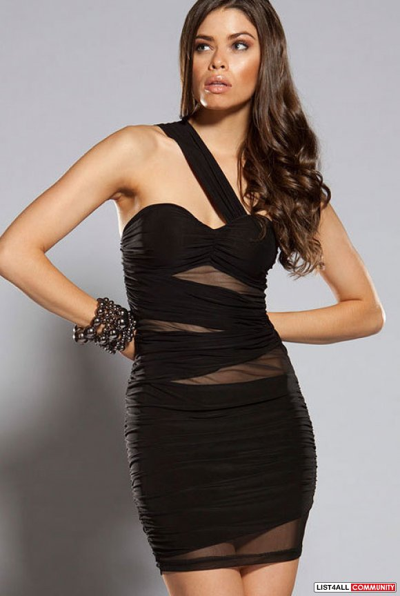 Women's One Strap Black Clubbing Dress with Sheer Panels - M