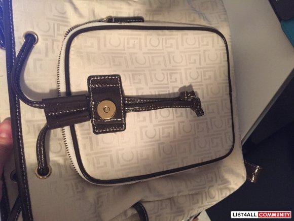 Liz Clairborne Patent Leather and Monogram Fabric Backpack