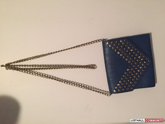 Blue Studded Purse with Chain Strap